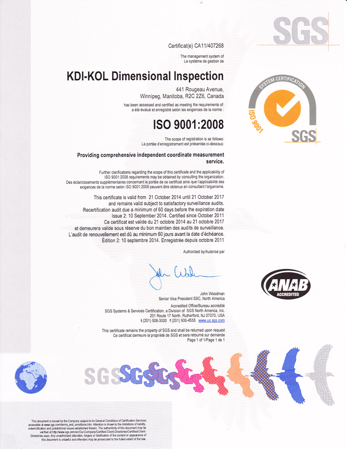 Kdi Kol Dimensional Inspection Offers Comprehensive Independent